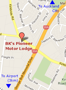 BK's Pioneer Motor Lodge Map